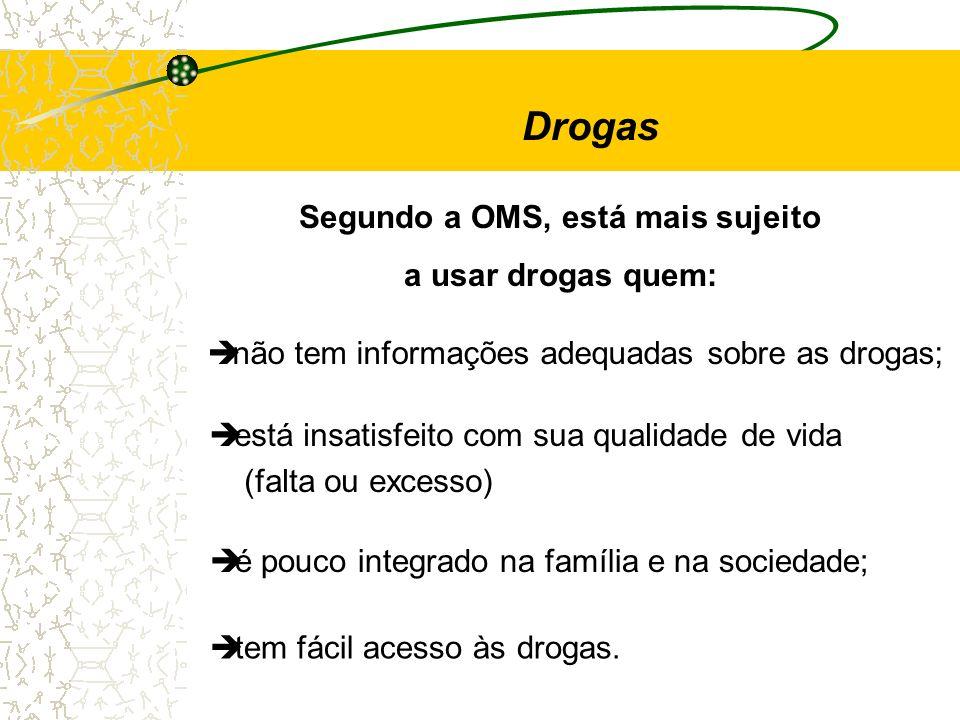 Segundo a OMS, está mais sujeito a usar drogas quem: è não tem informações adequadas sobre as drogas; è é pouco integrado na família e na sociedade; è