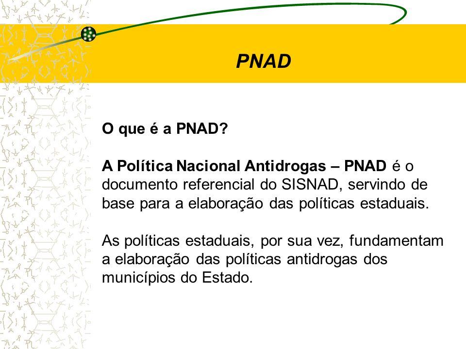 O que é a PNAD? A Política Nacional Antidrogas – PNAD é o documento referencial do SISNAD, servindo de base para a elaboração das políticas estaduais.