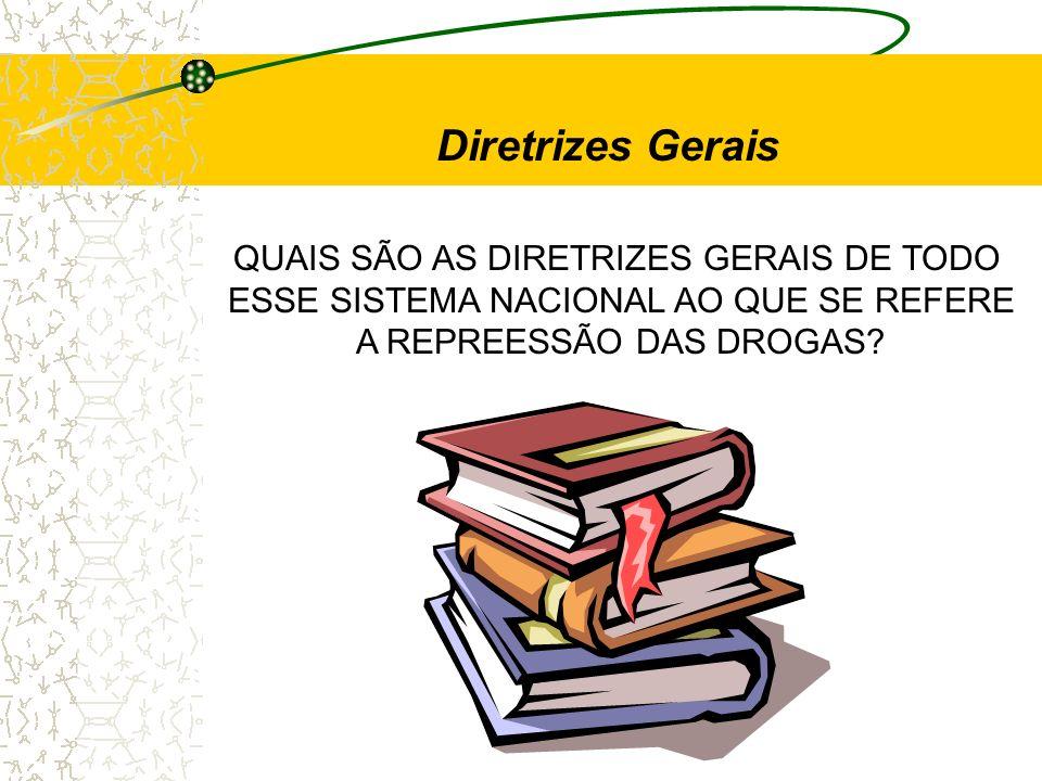 Diretrizes Gerais QUAIS SÃO AS DIRETRIZES GERAIS DE TODO ESSE SISTEMA NACIONAL AO QUE SE REFERE A REPREESSÃO DAS DROGAS?