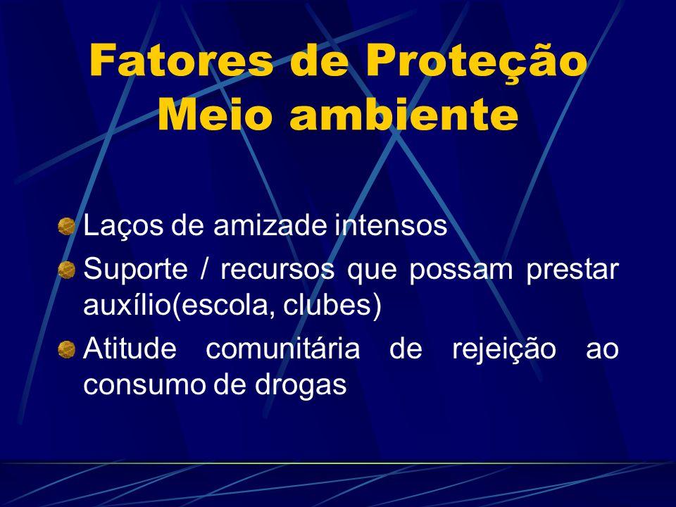 Laços de amizade intensos Suporte / recursos que possam prestar auxílio(escola, clubes) Atitude comunitária de rejeição ao consumo de drogas Fatores d
