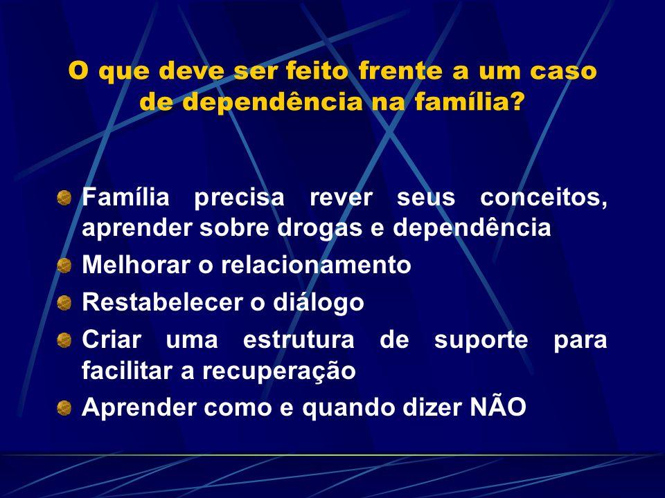 O que deve ser feito frente a um caso de dependência na família? Família precisa rever seus conceitos, aprender sobre drogas e dependência Melhorar o