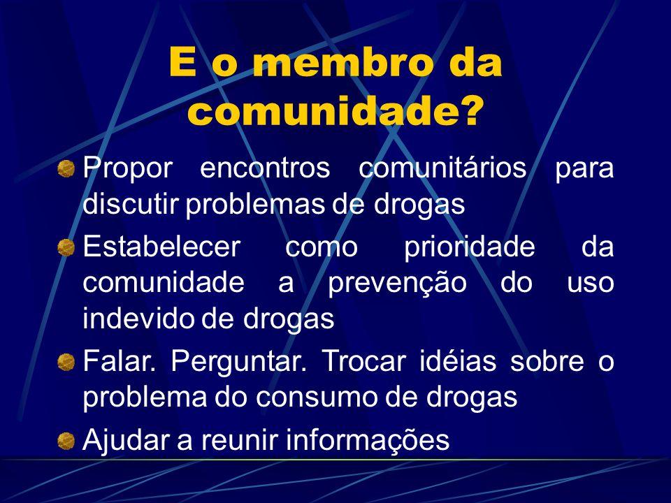 E o membro da comunidade? Propor encontros comunitários para discutir problemas de drogas Estabelecer como prioridade da comunidade a prevenção do uso