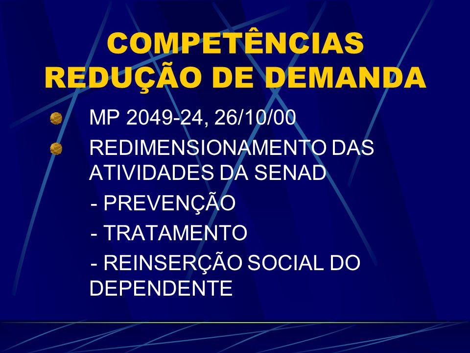 COMPETÊNCIAS REDUÇÃO DE DEMANDA MP 2049-24, 26/10/00 REDIMENSIONAMENTO DAS ATIVIDADES DA SENAD - PREVENÇÃO - TRATAMENTO - REINSERÇÃO SOCIAL DO DEPENDE
