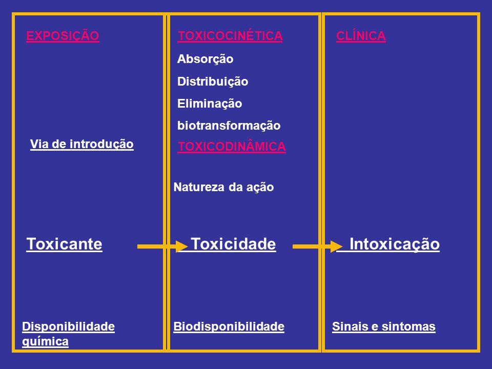EXPOSIÇÃO Via de introdução Toxicante Disponibilidade química CLÍNICA Intoxicação Sinais e sintomas TOXICOCINÉTICA TOXICODINÂMICA Absorção Distribuiçã