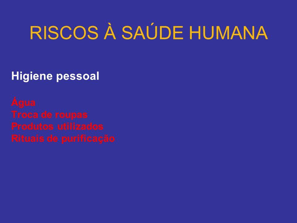 RISCOS À SAÚDE HUMANA Higiene pessoal Água Troca de roupas Produtos utilizados Rituais de purificação