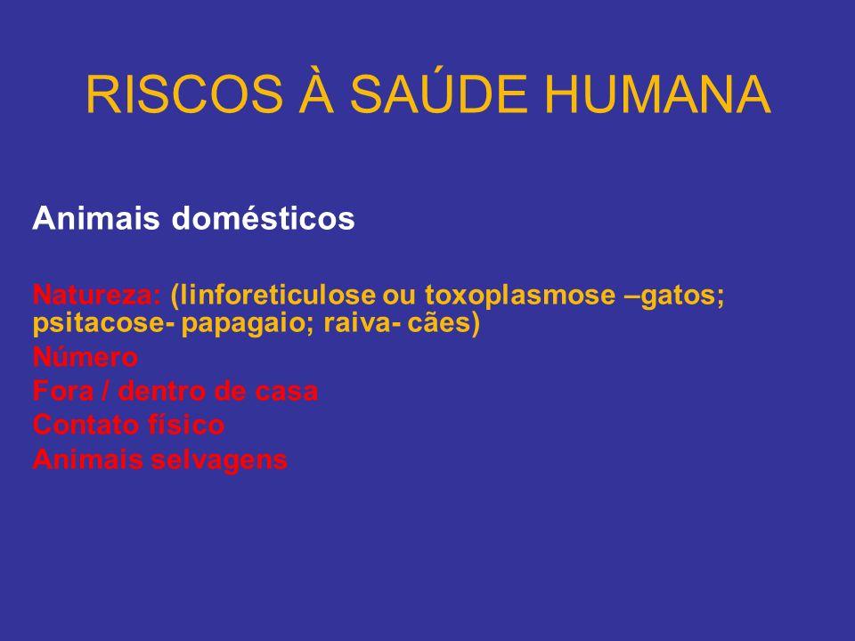 RISCOS À SAÚDE HUMANA Animais domésticos Natureza: (linforeticulose ou toxoplasmose –gatos; psitacose- papagaio; raiva- cães) Número Fora / dentro de