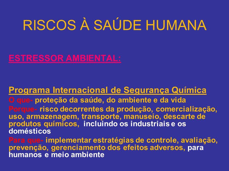 RISCOS À SAÚDE HUMANA ESTRESSOR AMBIENTAL: Programa Internacional de Segurança Química O que- proteção da saúde, do ambiente e da vida Porque- risco d