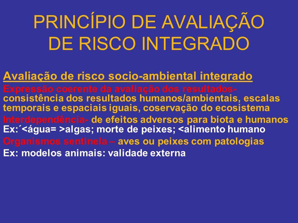 PRINCÍPIO DE AVALIAÇÃO DE RISCO INTEGRADO Avaliação de risco socio-ambiental integrado Expressão coerente da avaliação dos resultados- consistência do