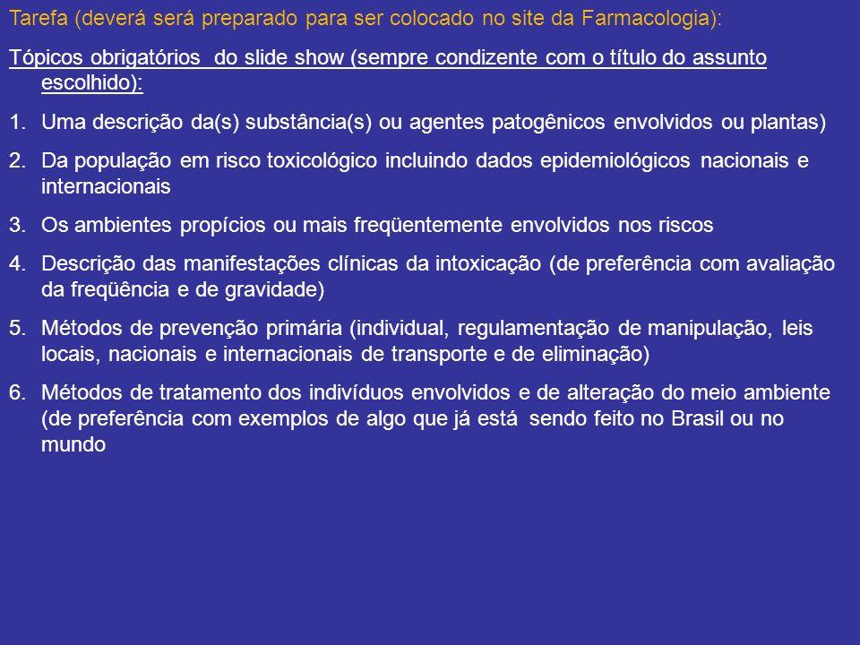 Tarefa (deverá será preparado para ser colocado no site da Farmacologia): Tópicos obrigatórios do slide show (sempre condizente com o título do assunt
