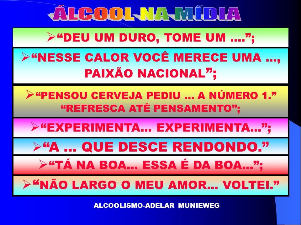 DEU UM DURO, TOME UM....; ALCOOLISMO-ADELAR MUNIEWEG NESSE CALOR VOCÊ MERECE UMA..., PAIXÃO NACIONAL ; PENSOU CERVEJA PEDIU... A NÚMERO 1. REFRESCA AT