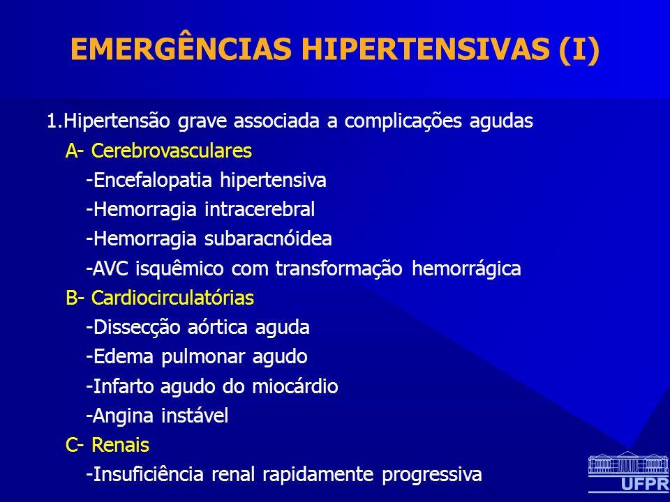 EMERGÊNCIAS HIPERTENSIVAS (I) 1.Hipertensão grave associada a complicações agudas A- Cerebrovasculares -Encefalopatia hipertensiva -Hemorragia intracerebral -Hemorragia subaracnóidea -AVC isquêmico com transformação hemorrágica B- Cardiocirculatórias -Dissecção aórtica aguda -Edema pulmonar agudo -Infarto agudo do miocárdio -Angina instável C- Renais -Insuficiência renal rapidamente progressiva