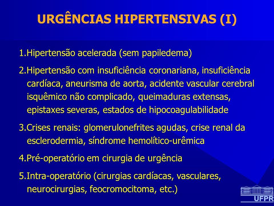 URGÊNCIAS HIPERTENSIVAS (I) 1.Hipertensão acelerada (sem papiledema) 2.Hipertensão com insuficiência coronariana, insuficiência cardíaca, aneurisma de aorta, acidente vascular cerebral isquêmico não complicado, queimaduras extensas, epistaxes severas, estados de hipocoagulabilidade 3.Crises renais: glomerulonefrites agudas, crise renal da esclerodermia, síndrome hemolítico-urêmica 4.Pré-operatório em cirurgia de urgência 5.Intra-operatório (cirurgias cardíacas, vasculares, neurocirurgias, feocromocitoma, etc.)