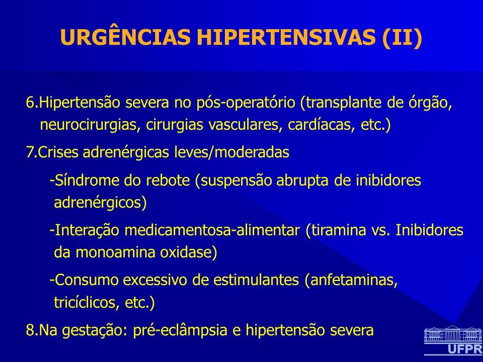 URGÊNCIAS HIPERTENSIVAS (II) 6.Hipertensão severa no pós-operatório (transplante de órgão, neurocirurgias, cirurgias vasculares, cardíacas, etc.) 7.Crises adrenérgicas leves/moderadas -Síndrome do rebote (suspensão abrupta de inibidores adrenérgicos) -Interação medicamentosa-alimentar (tiramina vs.