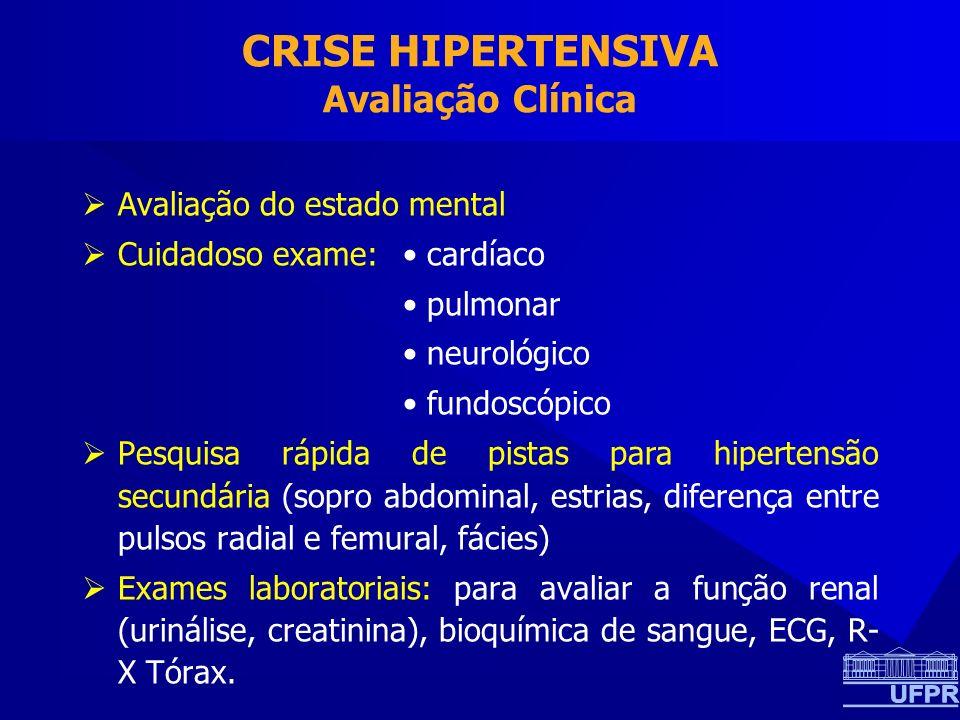 CRISE HIPERTENSIVA Avaliação Clínica Avaliação do estado mental Cuidadoso exame: cardíaco pulmonar neurológico fundoscópico Pesquisa rápida de pistas