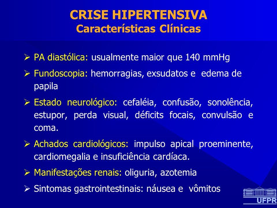 CRISE HIPERTENSIVA Características Clínicas PA diastólica: usualmente maior que 140 mmHg Fundoscopia: hemorragias, exsudatos e edema de papila Estado
