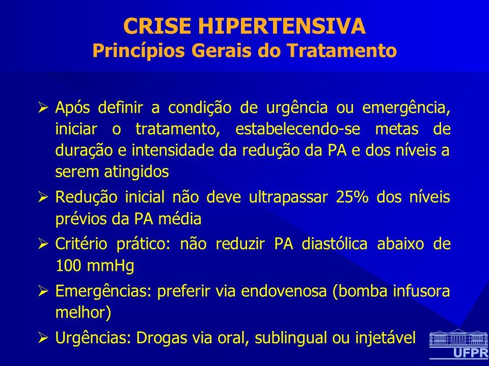 CRISE HIPERTENSIVA Princípios Gerais do Tratamento Após definir a condição de urgência ou emergência, iniciar o tratamento, estabelecendo-se metas de