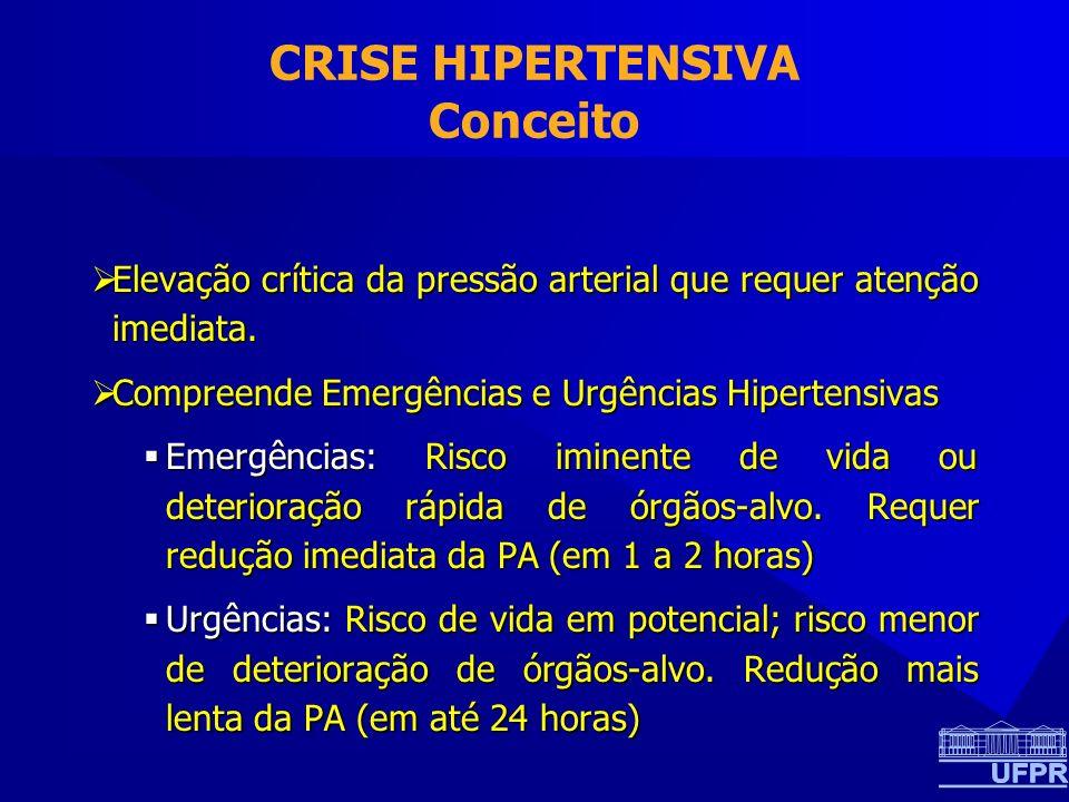 CRISE HIPERTENSIVA Conceito Elevação crítica da pressão arterial que requer atenção imediata. Elevação crítica da pressão arterial que requer atenção