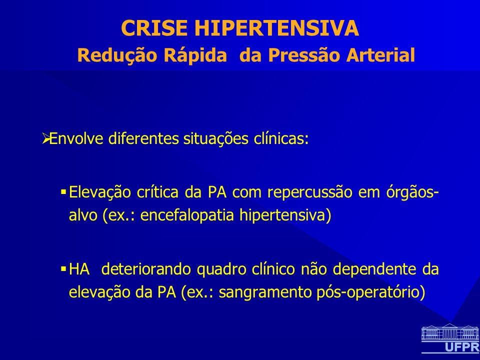 CRISE HIPERTENSIVA Redução Rápida da Pressão Arterial Envolve diferentes situações clínicas: Elevação crítica da PA com repercussão em órgãos- alvo (ex.: encefalopatia hipertensiva) HA deteriorando quadro clínico não dependente da elevação da PA (ex.: sangramento pós-operatório)