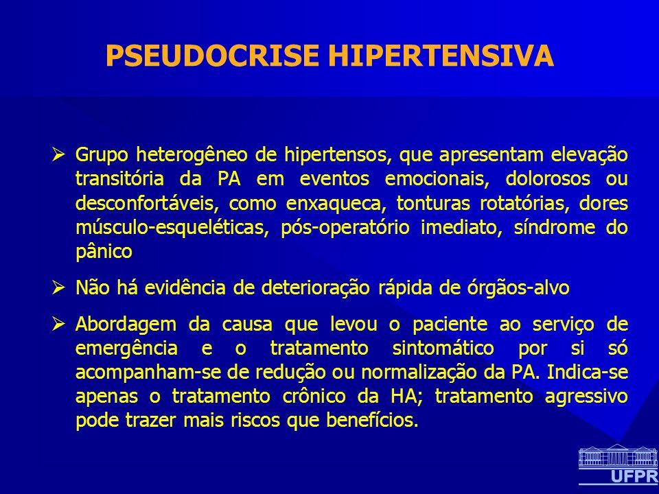 PSEUDOCRISE HIPERTENSIVA Grupo heterogêneo de hipertensos, que apresentam elevação transitória da PA em eventos emocionais, dolorosos ou desconfortáveis, como enxaqueca, tonturas rotatórias, dores músculo-esqueléticas, pós-operatório imediato, síndrome do pânico Não há evidência de deterioração rápida de órgãos-alvo Abordagem da causa que levou o paciente ao serviço de emergência e o tratamento sintomático por si só acompanham-se de redução ou normalização da PA.