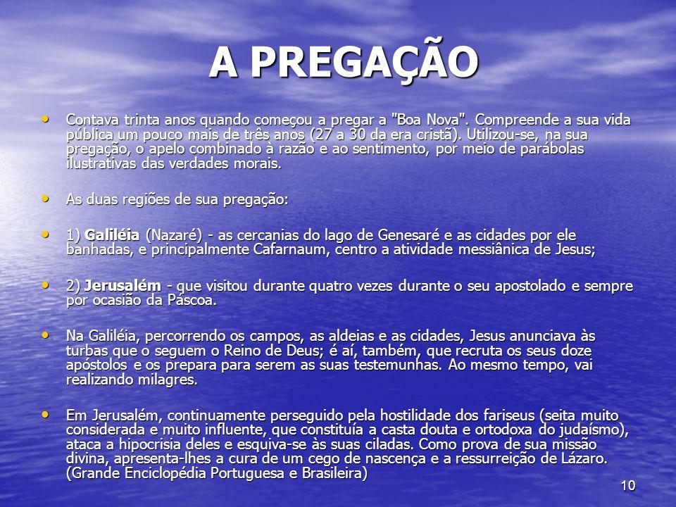 10 A PREGAÇÃO A PREGAÇÃO Contava trinta anos quando começou a pregar a