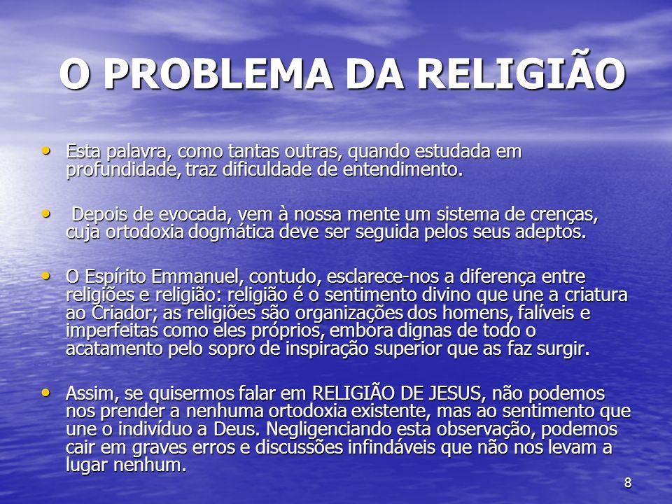 8 O PROBLEMA DA RELIGIÃO O PROBLEMA DA RELIGIÃO Esta palavra, como tantas outras, quando estudada em profundidade, traz dificuldade de entendimento. E