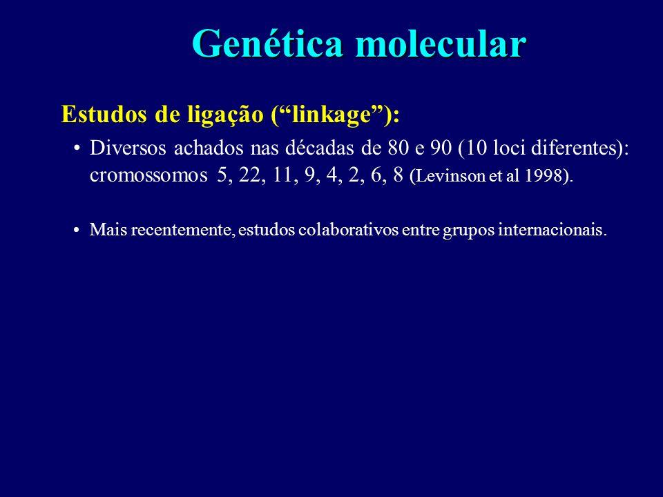 Genética epidemiológica Estudos em famílias, gêmeos e em adotivos demonstram a existência de um componente genético para a esquizofrenia