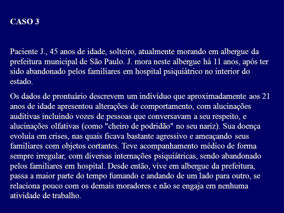 A mãe da paciente diz que a primeira crise de agitação se iniciou aos 26 anos de idade, também de forma abrupta. Desde então, a paciente apresentou do