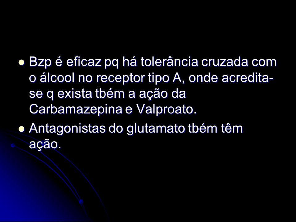 Bzp é eficaz pq há tolerância cruzada com o álcool no receptor tipo A, onde acredita- se q exista tbém a ação da Carbamazepina e Valproato. Bzp é efic