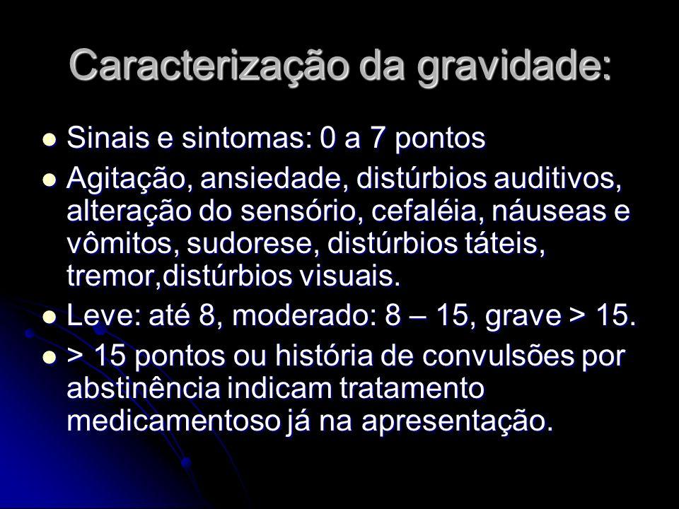 Caracterização da gravidade: Sinais e sintomas: 0 a 7 pontos Sinais e sintomas: 0 a 7 pontos Agitação, ansiedade, distúrbios auditivos, alteração do s
