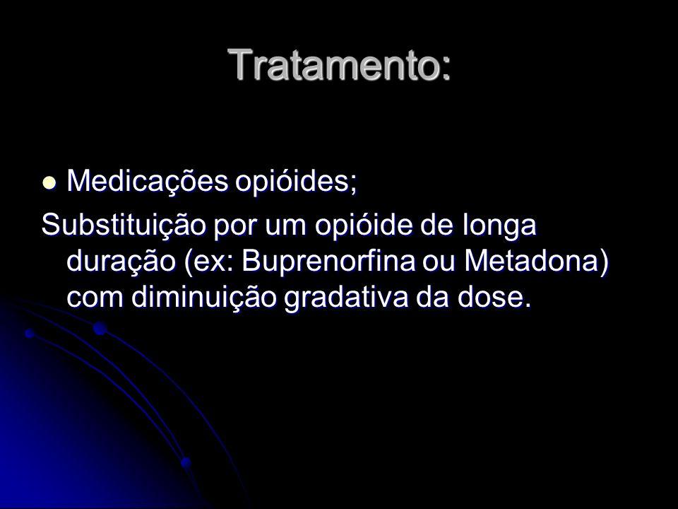Tratamento: Medicações opióides; Medicações opióides; Substituição por um opióide de longa duração (ex: Buprenorfina ou Metadona) com diminuição grada
