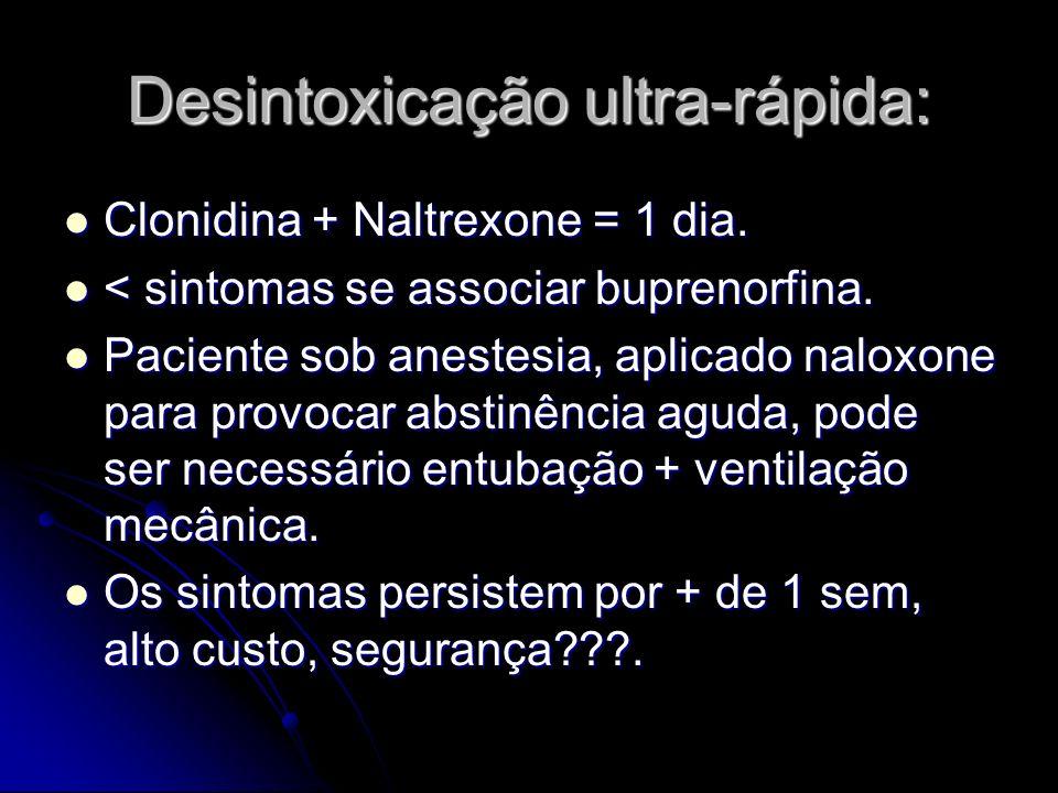 Desintoxicação ultra-rápida: Clonidina + Naltrexone = 1 dia. Clonidina + Naltrexone = 1 dia. < sintomas se associar buprenorfina. < sintomas se associ