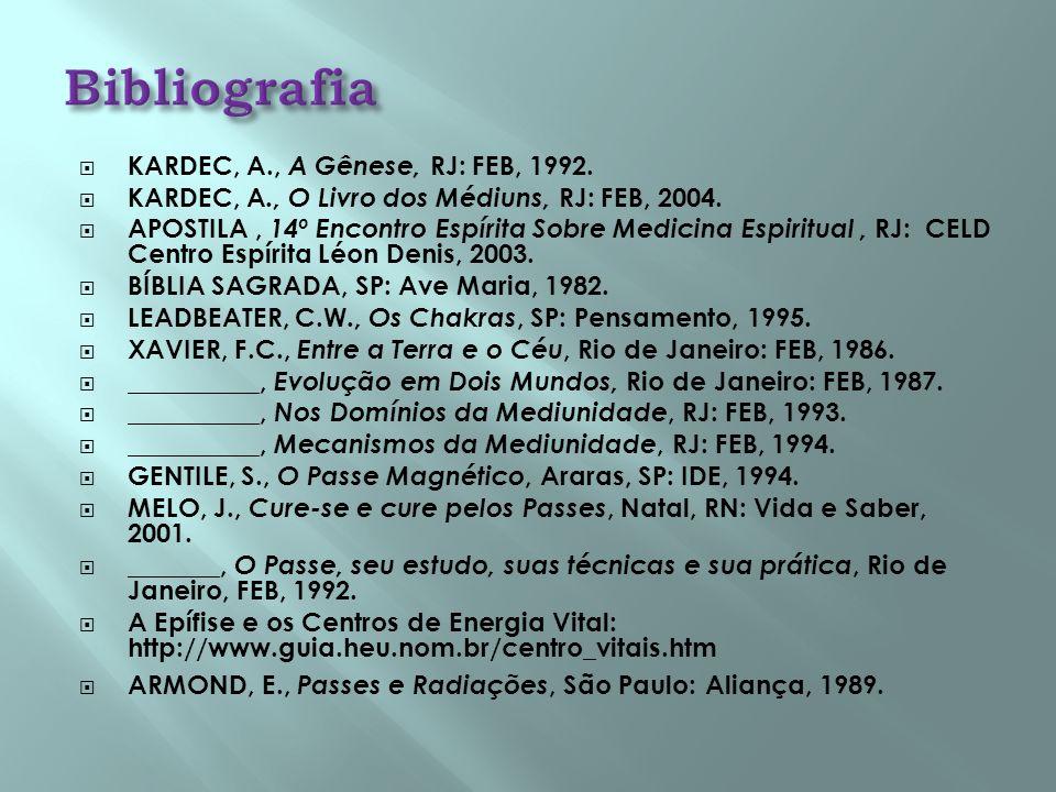 KARDEC, A., A Gênese, RJ: FEB, 1992. KARDEC, A., O Livro dos Médiuns, RJ: FEB, 2004. APOSTILA, 14º Encontro Espírita Sobre Medicina Espiritual, RJ: CE