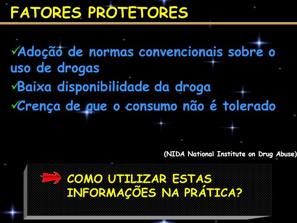 FATORES PROTETORES Adoção de normas convencionais sobre o uso de drogas Baixa disponibilidade da droga Crença de que o consumo não é tolerado COMO UTI