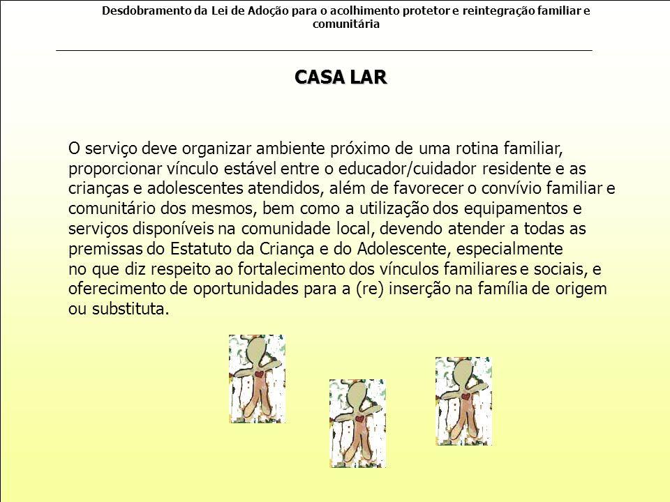 Desdobramento da Lei de Adoção para o acolhimento protetor e reintegração familiar e comunitária O Serviço de Acolhimento provisório oferecido em unid