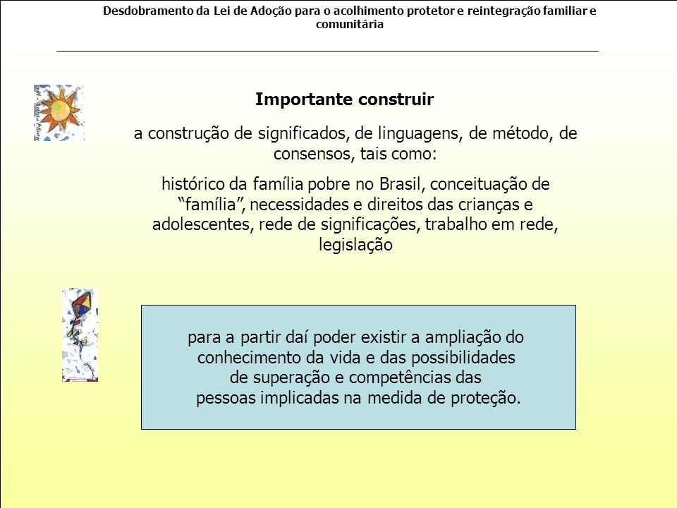 Desdobramento da Lei de Adoção para o acolhimento protetor e reintegração familiar e comunitária Trabalho com Famílias É uma tarefa complexa e exige e