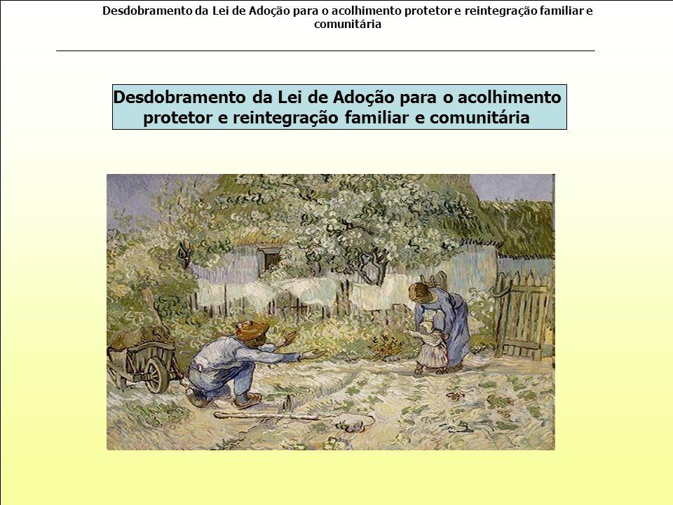 Desdobramento da Lei de Adoção para o acolhimento protetor e reintegração familiar e comunitária Desdobramento da Lei de Adoção para o acolhimento protetor e reintegração familiar e comunitária