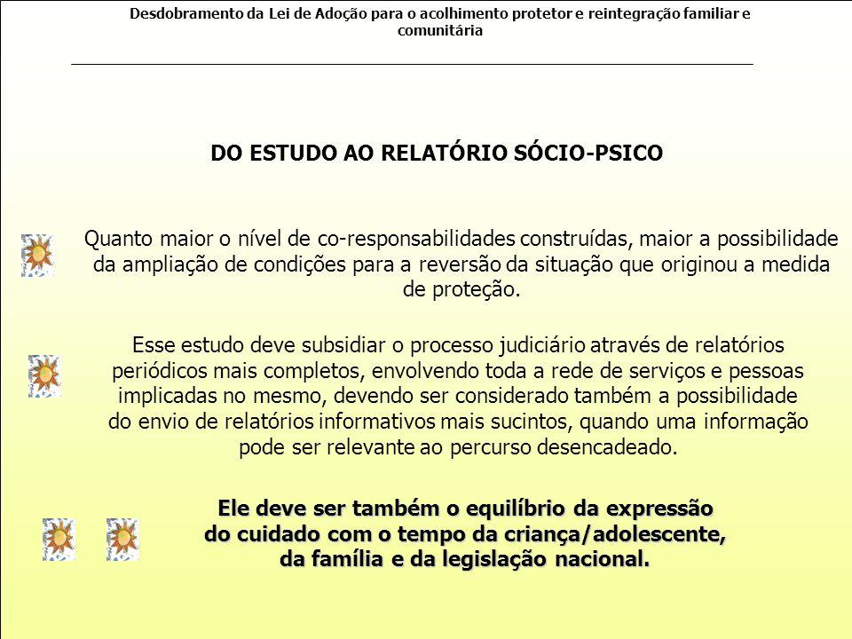 Desdobramento da Lei de Adoção para o acolhimento protetor e reintegração familiar e comunitária As informações pertencem às pessoas implicadas no pro