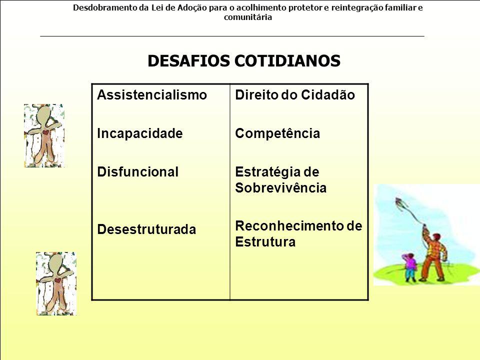 Desdobramento da Lei de Adoção para o acolhimento protetor e reintegração familiar e comunitária Como promover o que consideramos o bem estar da crian