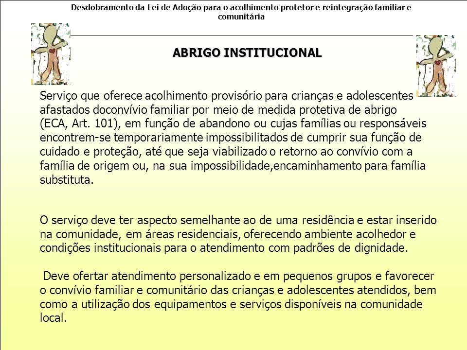 Desdobramento da Lei de Adoção para o acolhimento protetor e reintegração familiar e comunitária COMPROMISSOS A SEREM CUMPRIDOS COM A POLITICA PUBLICA CONSTITUIÇÃO DA REPUBLICA FEDERATIVA DO BRASIL ESTATUTO DA CRIANÇA E DO ADOLESCENTE (importantes alterações com a Lei 12.010) LOAS – PNAS – SUAS PLANO NACIONAL DE PROMOÇÃO, PROTEÇÃO E DEFESA DO DIREITO DE CRIANÇAS E ADOLESCENTES À CONVIVÊNCIA FAMILIAR E COMUNITÁRIA NOB-RH ORIENTAÇÕES TÉCNICAS: SERVIÇOS DE ACOLHIMENTO PARA CRIANÇAS E ADOLESCENTES TIPIFICAÇÃO NACIONAL