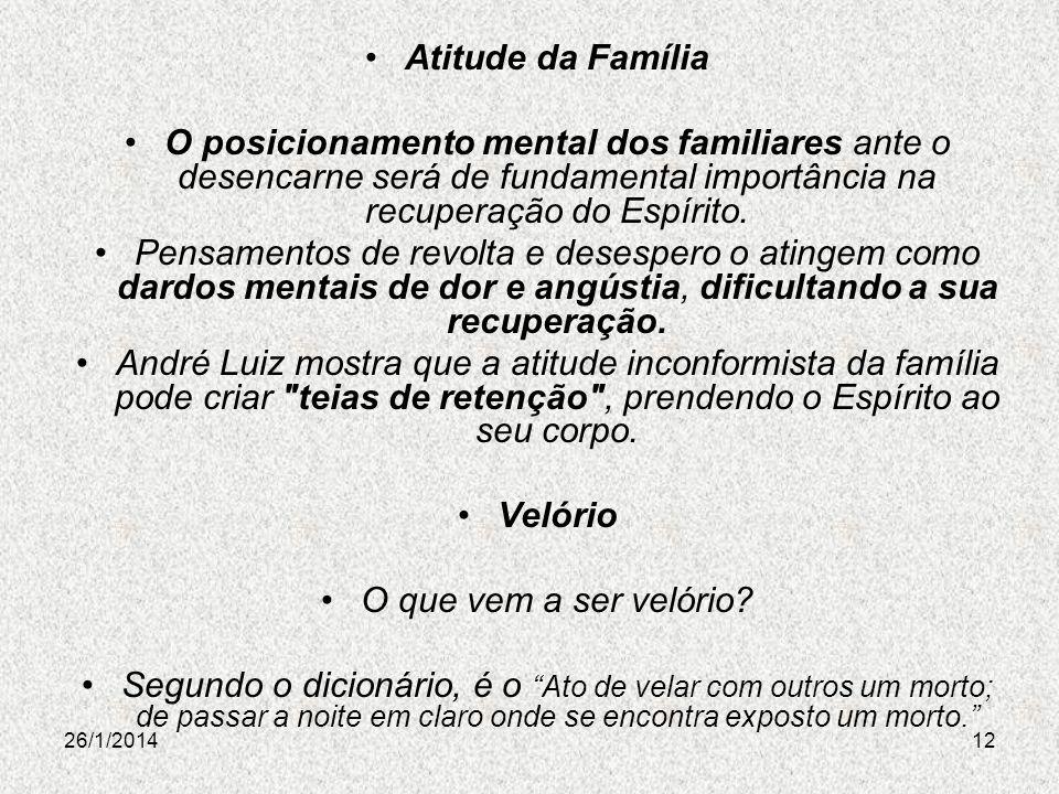 26/1/201412 Atitude da Família O posicionamento mental dos familiares ante o desencarne será de fundamental importância na recuperação do Espírito. Pe