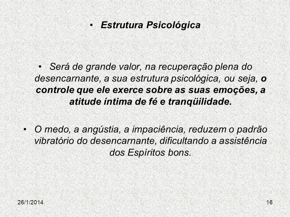 26/1/201416 Estrutura Psicológica Será de grande valor, na recuperação plena do desencarnante, a sua estrutura psicológica, ou seja, o controle que el