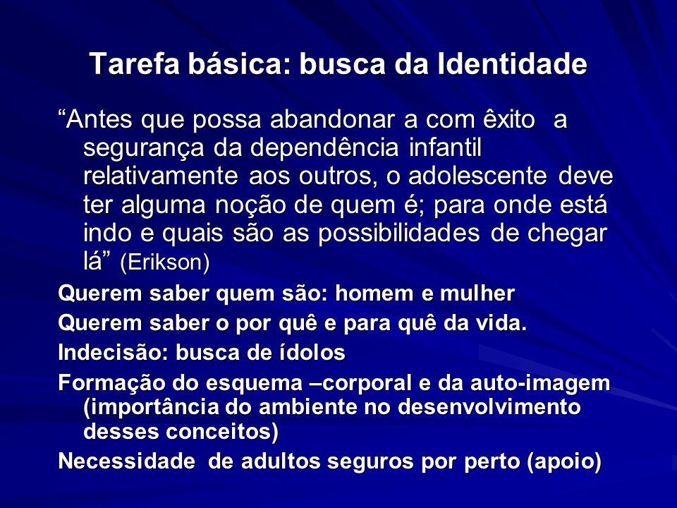 Tarefa básica: busca da Identidade Antes que possa abandonar a com êxito a segurança da dependência infantil relativamente aos outros, o adolescente d