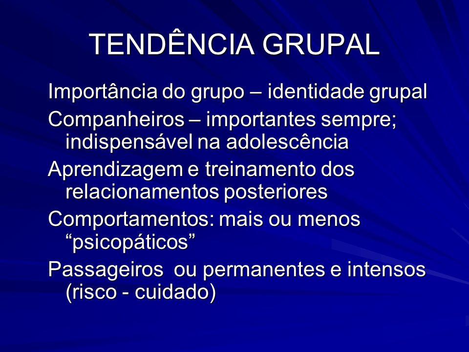 TENDÊNCIA GRUPAL Importância do grupo – identidade grupal Companheiros – importantes sempre; indispensável na adolescência Aprendizagem e treinamento