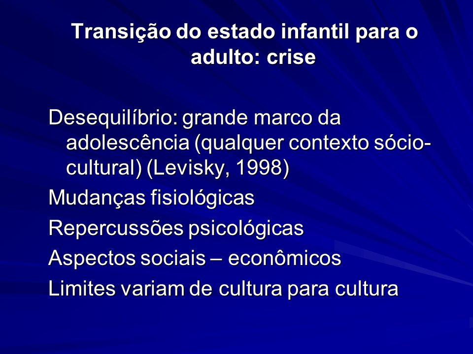 Transição do estado infantil para o adulto: crise Desequilíbrio: grande marco da adolescência (qualquer contexto sócio- cultural) (Levisky, 1998) Muda