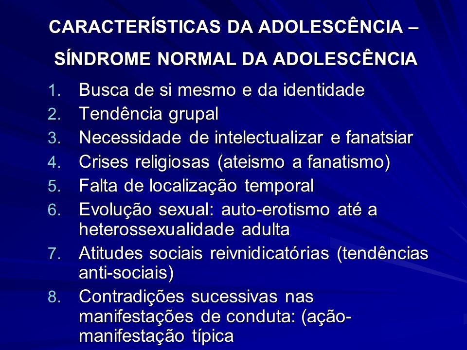 CARACTERÍSTICAS DA ADOLESCÊNCIA – SÍNDROME NORMAL DA ADOLESCÊNCIA 1. Busca de si mesmo e da identidade 2. Tendência grupal 3. Necessidade de intelectu