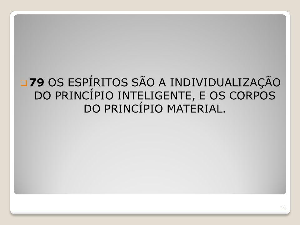 79 OS ESPÍRITOS SÃO A INDIVIDUALIZAÇÃO DO PRINCÍPIO INTELIGENTE, E OS CORPOS DO PRINCÍPIO MATERIAL. 24