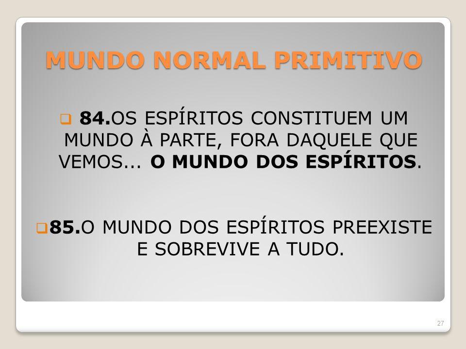 MUNDO NORMAL PRIMITIVO 84.OS ESPÍRITOS CONSTITUEM UM MUNDO À PARTE, FORA DAQUELE QUE VEMOS... O MUNDO DOS ESPÍRITOS. 85.O MUNDO DOS ESPÍRITOS PREEXIST