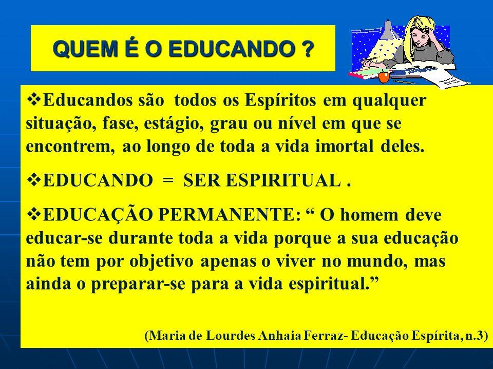 QUE É O EDUCANDO ? QUE É O EDUCANDO ? UM SER ESPIRITUAL EM ROMAGEM Da PERFECTIBILIDADE para a PERFEIÇÃO, que pela EDUCAÇÃO conquistada e a conquistar