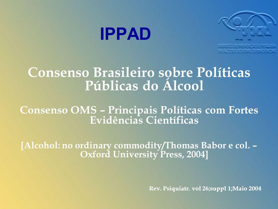 IPPAD Consenso Brasileiro sobre Políticas Públicas do Álcool Consenso OMS – Principais Políticas com Fortes Evidências Científicas [Alcohol: no ordinary commodity/Thomas Babor e col.