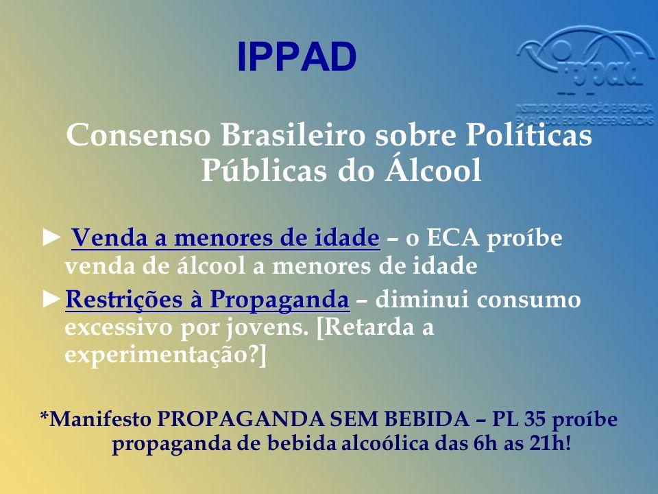IPPAD Consenso Brasileiro sobre Políticas Públicas do Álcool Venda a menores de idade Venda a menores de idade – o ECA proíbe venda de álcool a menores de idade Restrições à PropagandaRestrições à Propaganda – diminui consumo excessivo por jovens.
